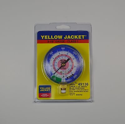 "Yellow Jacket 49136 3-1/8"" blue compound gauge 30""-0-300 psi/bar for R410A"