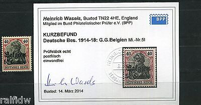 Landespost Belgien 50 Centimes Germania 1914** Michel 5 I Befund (S8996)
