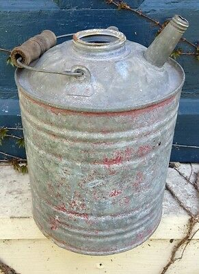 Vintage Galvanized Steel Metal Gas Oil Fuel Kerosene Can With Spout Wood Handle