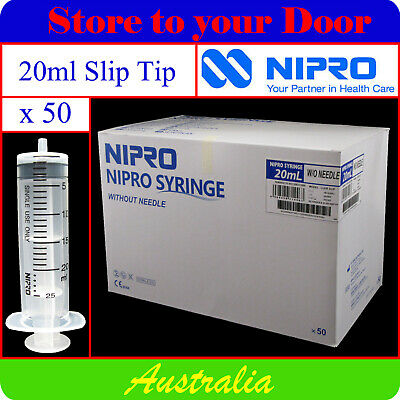 50 x 20ml Syringes Slip Tip - Disposable Hypodermic Syringe / Medical / Shots