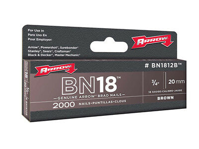 Arrow ARRBN1812B BN1812B Brad Nails 20mm Brown Head Pack 2000