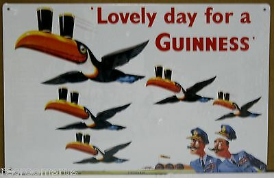 GUINNESS beer IT'S A LOVELY DAY FOR A Guinness metal bar sign flying toucan's