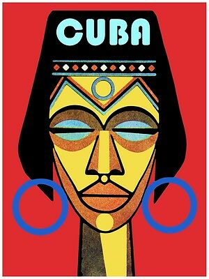 4319.Cuba.woman's head on red background.native.POSTER.decor Home Office art