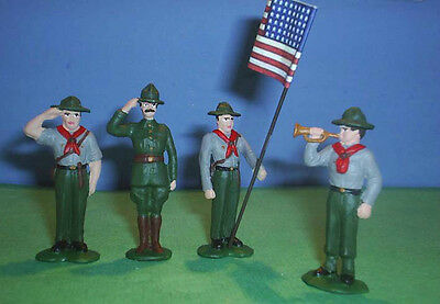TOY SOLDIERS METAL AMERICAN BOY SCOUTS CAMP FLAG SET 54MM