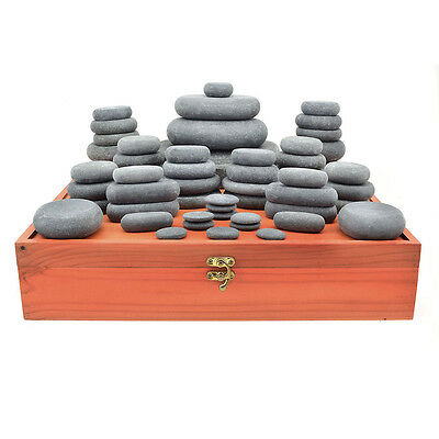 MassageMaster HOT STONE MASSAGE SET: 54 Basalt Stones for LaStone Therapy