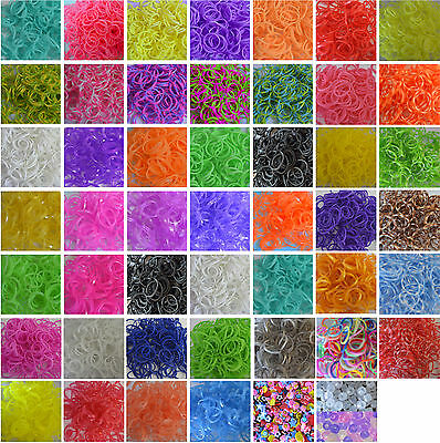 600 pcs Rubber Loom Bands Refill Bags Bracelet Making Kit Set Clip & Hook