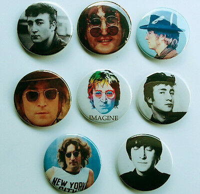 8 piece lot of John Lennon pins buttons badges