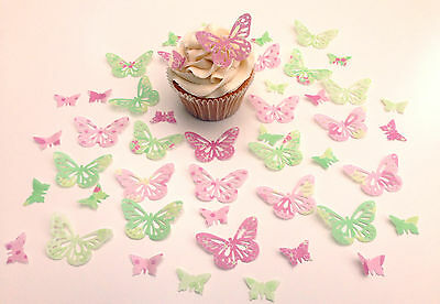 48 Edible Bella Collection Butterflies Pre Cut Wafer Cupcake Toppers