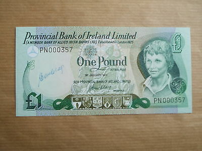 Provincial  Bank  Of  Ireland £1  Note, 1977, Unc, Low  Number  &  Signed