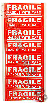"""20 X FRAGILE HANDLE WITH CARE 1"""" x 3"""" Sticker Sheets, Easy Peel & Apply - 160 ct"""