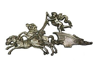 Lovely old bronze nickelled carriage angel and horses furniture part 14 x 26 cm