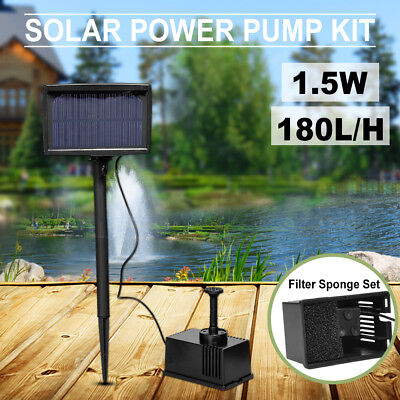 Solar Pump Pond Submersible Water Fountain 180L/H 1.5W 3m with Filtering Sponge