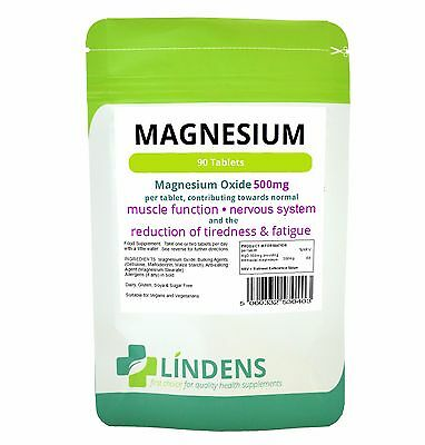 Magnesium Tablets 1-a-day MgO 500mg Lindens Pack 90 Magnesium Oxide