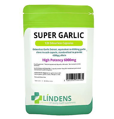 Super Strength Garlic 6000mg; Odourless 120 capsules oil softgels Lindens