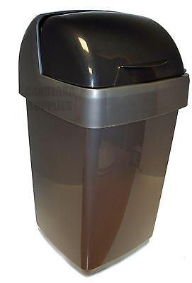 Addis 10 Litre Roll Top Plastic Waste Rubbish Bin With Lid - Metallic Silver