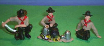 TOY SOLDIERS METAL AMERICAN BOY SCOUTS CAMP FIRE SET 54MM