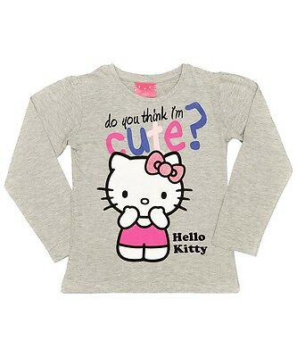 Fast P&p Girls Hello Kitty Long Sleeved Grey T-Shirt. Age 4/5, 6/7, 8/9 Years.