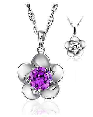 925 Sterling Silver Pendant Necklace Plum Flower Blossom Amethyst Crystal Chain