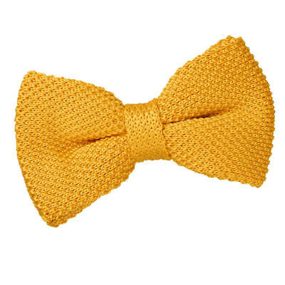 New Dqt Knitted Men's Pre-Tied Bow Tie - Marigold Yellow