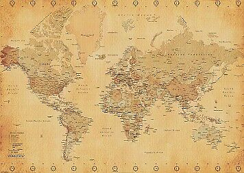 Antique World Map - Vintage Style GIANT POSTER 100x140cm NEW * large size