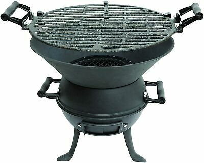 Portable Cast Iron Fire Pit Charcoal Bbq Grill Garden Patio Camping Barbecue New