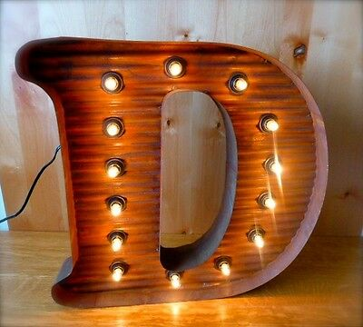 "LG BROWN VINTAGE STYLE LIGHT UP MARQUEE LETTER D, 24"" TALL novelty rustic sign"