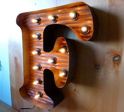 "LG BROWN VINTAGE STYLE LIGHT UP MARQUEE LETTER F, 24"" TALL novelty rustic sign"
