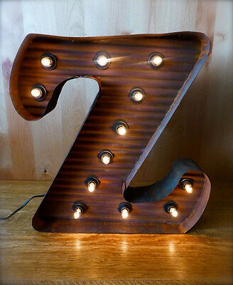 "LG BROWN VINTAGE STYLE LIGHT UP MARQUEE LETTER Z, 24"" TALL metal rustic sign"