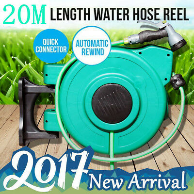 30 Meters Retractable Rewind Water Hose Garden Gardening Reel Green with Gun AU