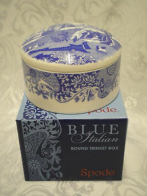 Spode Blue Italian Elegant Blue & White Patterned Porcelain Round Trinket Box