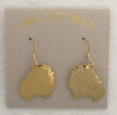 Pomeranian Jewelry Gold Dog Only Earrings by Touchstone Dog Designs