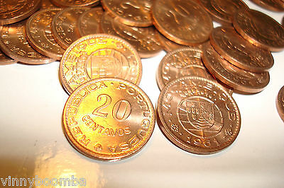 PORTUGUESE MOZAMBIQUE 1961 AFRICAN 20 CENTAVOS WORLD COIN UNC LOT OF 49 BEAUTIES