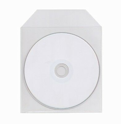 100 THIN CPP Clear Plastic Sleeve Bag with Flap for CD DVD Disc 60 Microns