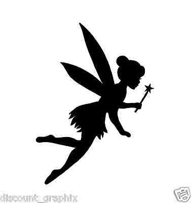 FAIRY TINKERBELL * WAND SILHOUETTE STICKER DECAL TINK PRINCESS DUST WINGS DISNEY