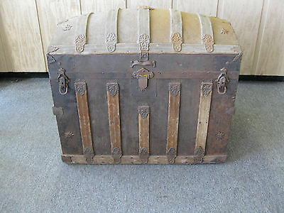 Antique Large Camelback Trunk 19th Century Dometop Chest Steamer Trunk