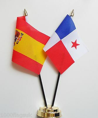 Spain & Panama Double Friendship Table Flag Set