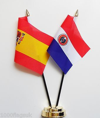 Spain & Paraguay 1990 to 2013 Double Friendship Table Flag Set