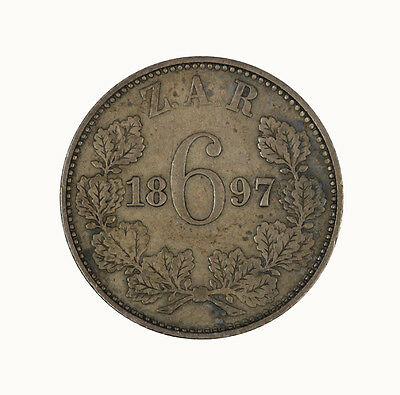 South Africa 1897 Sixpence Coin TONED aUNC