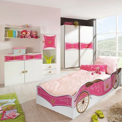 himmelbett cind mit rosa vorhang kinderzimmer kleiderschrank prinzessin komplett. Black Bedroom Furniture Sets. Home Design Ideas