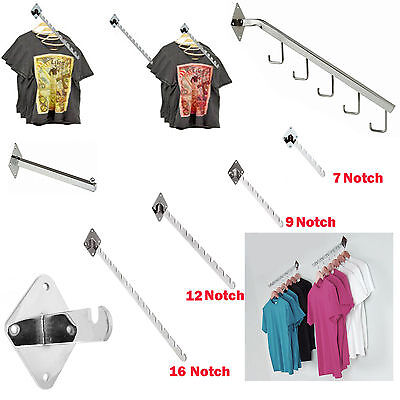 Wall Mounted Fixing 7,9,12,16 Notched Waterfall Arm For Retail Clothes Display