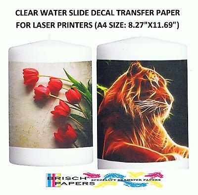 Clear Water Slide Decal Transfer Paper For Laser Printers: 100 Sheets (A4 Size)