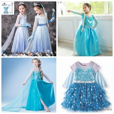 Girls Frozen Elsa Anna Costume Party Birthday Christmas Tutu Dress + Crown 1-12Y