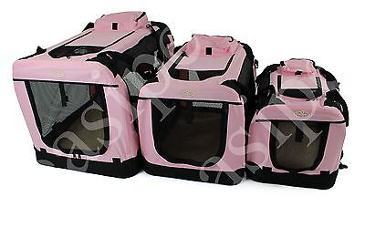 Fabric Soft Pet Travel Crate Kennel Cage Carrier House Dog Cat Pink New Easipet