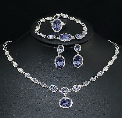 V442 S. Crystal 18K WGP Purple CZ Earrings Bracelet Necklace Set Ring Size 7