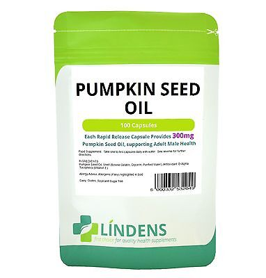 Pumpkin Seed Oil Capsules 100 x 300mg Lindens Prostate / Cystitis / Men's Health