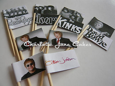 ICONIC 50/'S AND 60/'S ARTISTS 12 or 20 CUPCAKE FLAGS//TOPPERS GROUPS