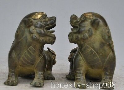 "6"" Chinese Fengshui Bronze copper gilt Foo Fu Dog Lion Beast Animal Statue Pair"