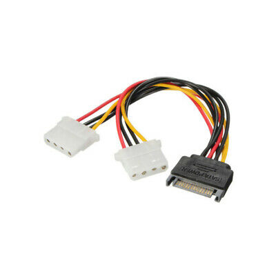 US Seller SATA Power 15 pin to Dual 4-pin Molex Conncetor Y Splitter Cable Cord