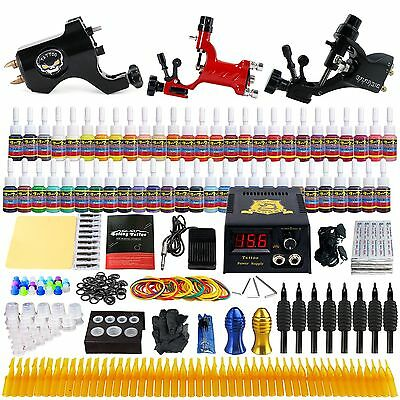 Solong Tattoo Kit 3 Pro Machine Guns 54 Inks Power Supply Needle Grips