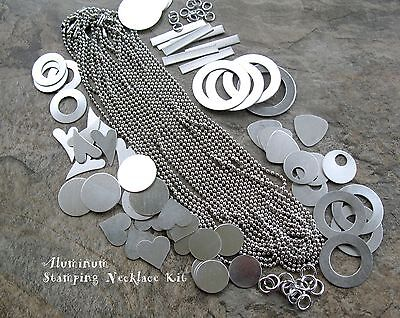 ALUMINUM Stamping Necklace Kit,  Metal Blanks and Chain for 12 or more Necklaces